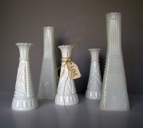 Milk glass wedding vases wedding decor wedding table - Glass vases for wedding table decorations ...