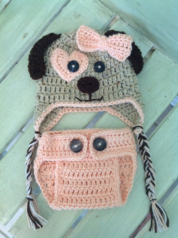 Crochet Puppy Dog Hat and Diaper Cover Made to Order Peach