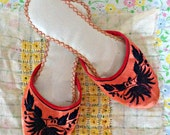 Vintage Slippers Coral and Black