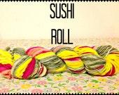 Self Striping Hand Spun Hand Dyed Merino Wool Yarn Sushi Roll