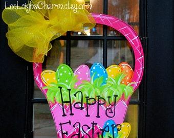 Easter Door Hanger, Unfinished wooden cutout, Easter Decoration, Easter Basket Door Hanger, Easter Wreath