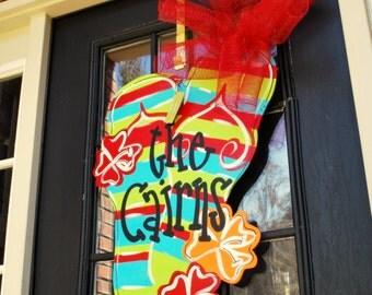 Door Hanger: Flip Flop, Summer Door Decoration, Beach House Decor