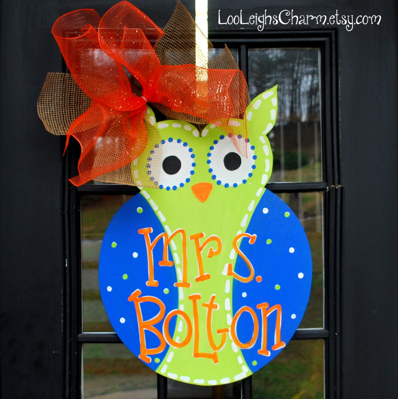 Owl Classroom Decor Ideas ~ Classroom door hanger owl birthday decoration