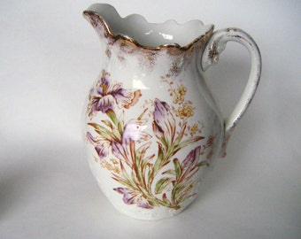 Antique 1800s Warwick China Pitcher Handpainted With Flowers Embellished In Gold