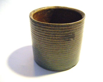Antique Green Ribbed Glazed Stoneware Pottery Cup or Vase Unmarked