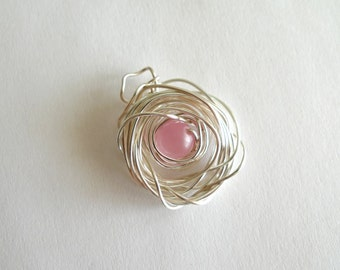 Silver Wire with Pink Bead Pendant