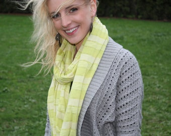 Infinity Scarf - Chartreuse Stripes