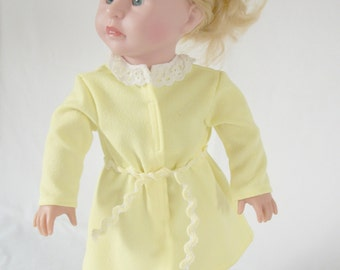 American Girl Bath Robe Yellow with White Lace Neckline and Yellow Tie Belt (DC06 and 57)