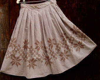 brown gingham skirt vintage hand embroidered cross stitch