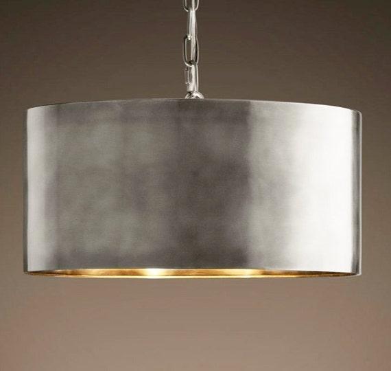 Vintage antiqued drum pendant ceiling light large size