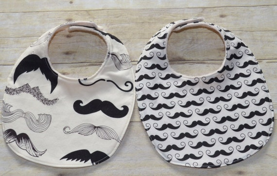 Set of Two Mustache Wheres my Stache and Geekly Chic Baby Bibs