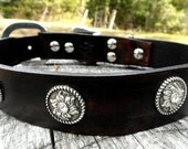 Leather Dog Collar with silver conchos, large breed dog collar