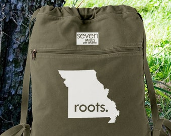Missouri MO Roots Canvas Backpack Cinch Sack