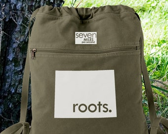 Wyoming WY Roots Canvas Backpack Cinch Sack