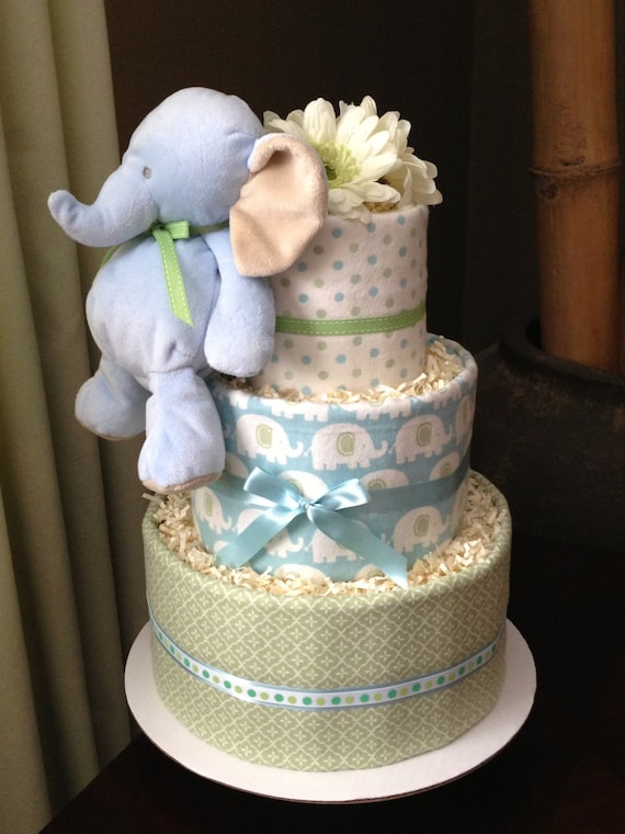 Baby Boy Blue And Green Elephant Neutral Diaper Cake For Baby