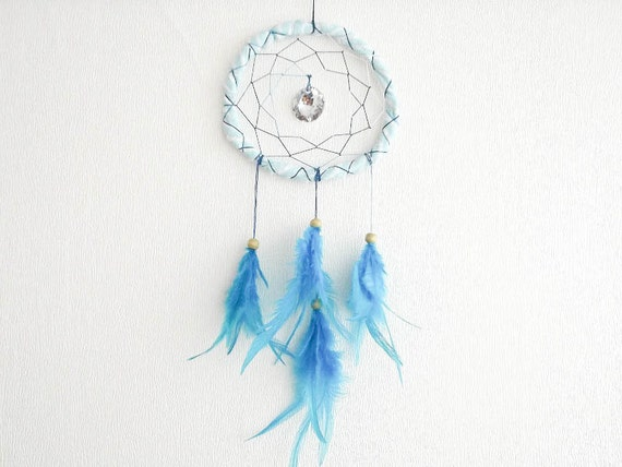 Dream Catcher - Sparkling Moonlight - With Clear Sparkling Round Crystal Prism and Turquoise Feathers - Home Decor, Mobile