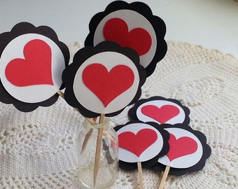 Queen Of Hearts Party - Heart Cupcake Toppers - Set of 12 - Happy Birthday - Baby Shower - Bridal Shower - Alice in Wonderland