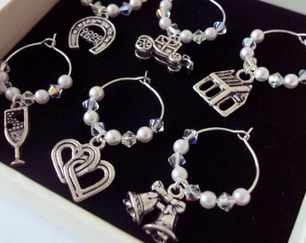 Bridal Gift Wedding Wine Glass Charms Wedding Gift Wedding Favours Free Shipping