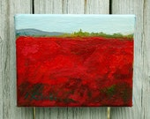 """RED and BLUE Blueberry fields, aka Barrens Maine , Expressive small  Landscape Painting . Abstract  art oil  4""""X5""""  canvas"""