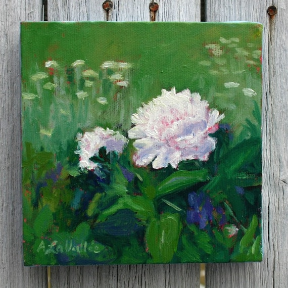 Peony Garden with yarrow , a small square oil painting . An original artwork in greens and whites , and  ready to hang .