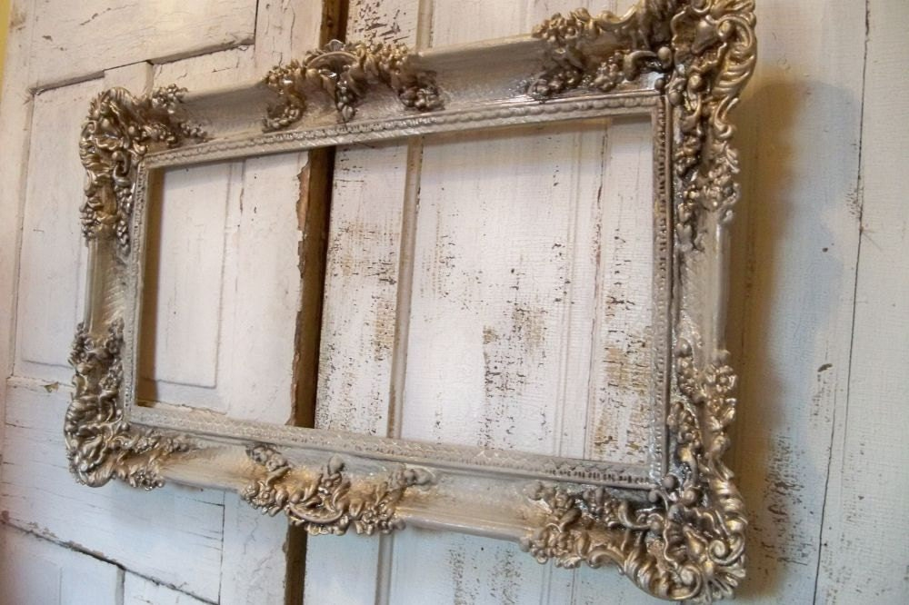 Large vintage frame ornate hand painted white putty gray for Large a frame