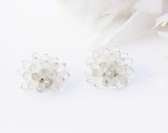 Vintage 1960s clip on earrings, transparent plastic beads, button earrings, Winter, snow, ice