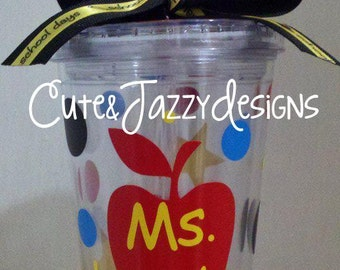 Personalized 16 oz, School Teacher, Acrylic, BPA Free Tumbler with Straw