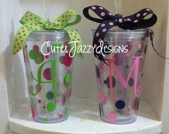 Set of 2 Personalized 16 oz , Acrylic, BPA Free Tumblers w/ Straws