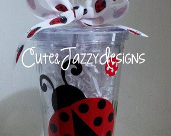 Personalized 16 oz, Ladybug, Acrylic, BPA Free Tumbler with Straw