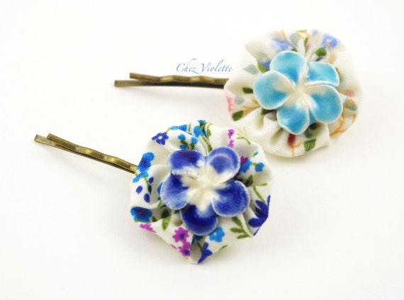 Wedding hair accessories blue Tiny Yoyo Flower ceramic Bobby Pin blue christmas