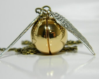 Golden Snitch Locket Necklace. Harry Potter Inspired.