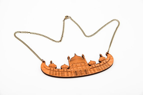 Wooden lasercut Brighton Pavilion Necklace