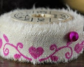 Pink Heart Border - Vintage Inspired Hand-Stamped Tea Dyed and Frayed Muslin Trim Around A Charming  Wooden Spool