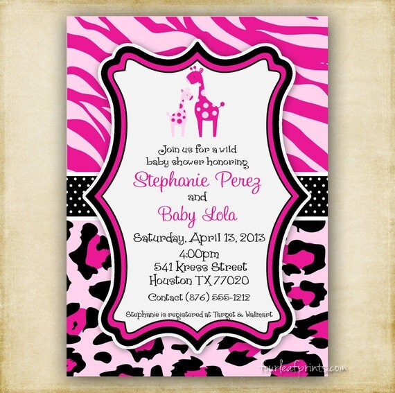 Leopard Print Baby Shower Supplies: Items Similar To Pink Zebra And Leopard Print