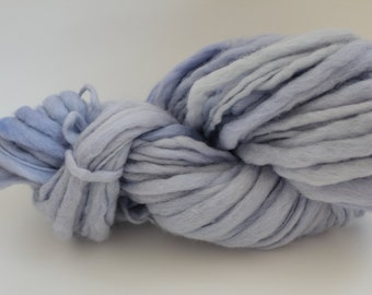 Baby Blue Hand Spun, Hand Dyed  Thick and Thin   Super Chunky Wool Yarn