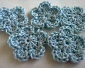 Crochet Flower 5 Petal Pearl Baby Blue Light Blue Sky Blue Crochet Flower Applique