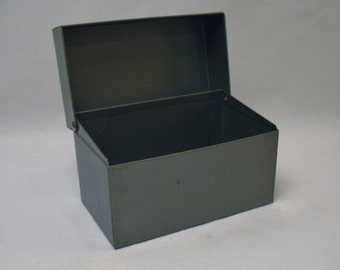 Vintage metal index file box Industrial Gray