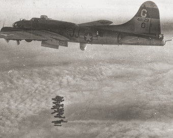 Vintage WWII B-17 Bomber in Action from Original Negative 12x8 Image