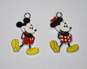 Disney Vintage Minnie and Mickey Mouse Enamel Clip Charm, zipper pull, backpack, cell phone, purse clip, bracelet, necklace or scrapbooking