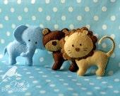 Tiny ZOO Friends - Elephant, Bear and Lion - felt animals - made to order