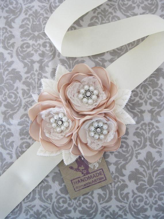Champagne bridal flower dress sash bridal gown sash for Flowers for champagne wedding dress