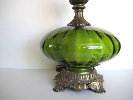 Vintage Green Table Lamp Green Glass Lamp Hollywood Regency