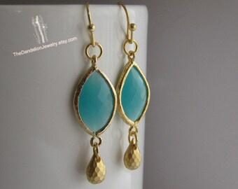 SALE 10% OFF: Glass Earrings Mint -  Dangle Earrings Drop Earrings Gift Jewelry