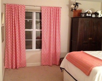 Red Curtains coral colored curtains : Zigzag coral – Etsy