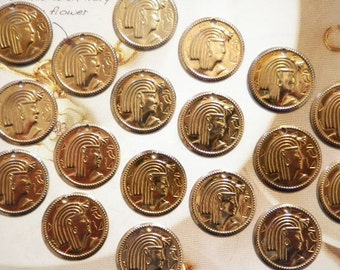 24 Brasscoated  20mm Egyptian Coin Charms