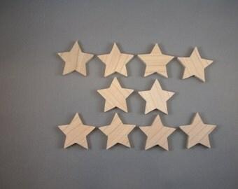 "1 3/4"" Wooden Stars (10)"