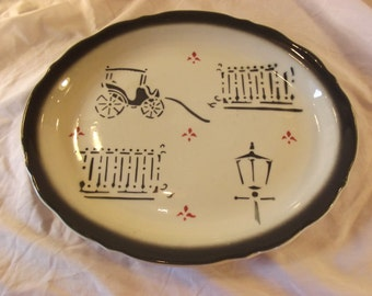 Antique Carriage and Lantern Themed RESTAURANT SERVING Plate / PLATTER