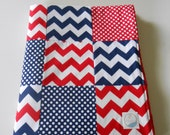 Minky Baby Patchwork Quilt Blanket Riley Blake Chevrons and Dots Nautical Red White and Blue--Made to Order
