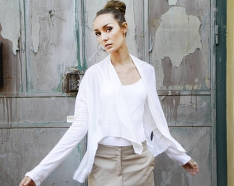 White shawl, asymmetrical cardigan, Long Sleeve top, white wrap, long sleeve warp shawl, open cardigan, winter top, loose jacket, casual top