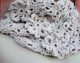 Crochet Infinity Scarf Pattern:  Cherokee Rose Eternity Scarf